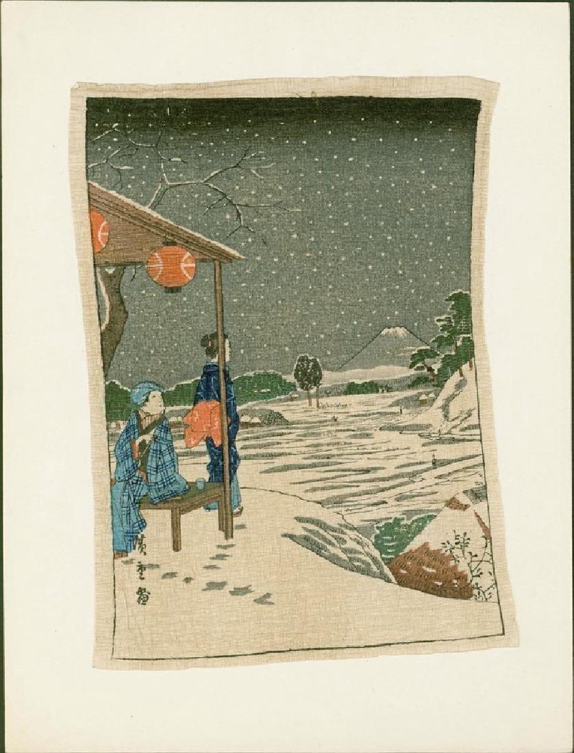 Ando Hiroshige Woodblock Geisha and Fuji in Snow - 2