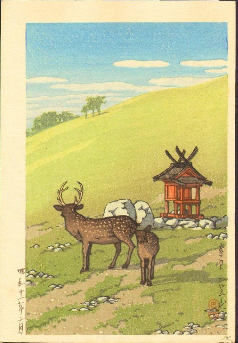 Kawase Hasui Woodblock Deer and Shrine