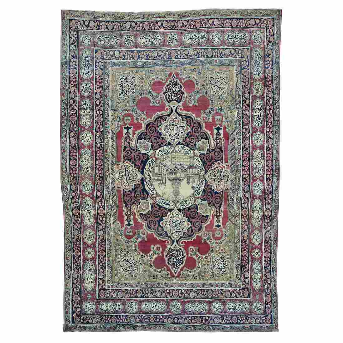 Antique Persian Kerman Sha Hand Knotted Rug 7.4x10.8