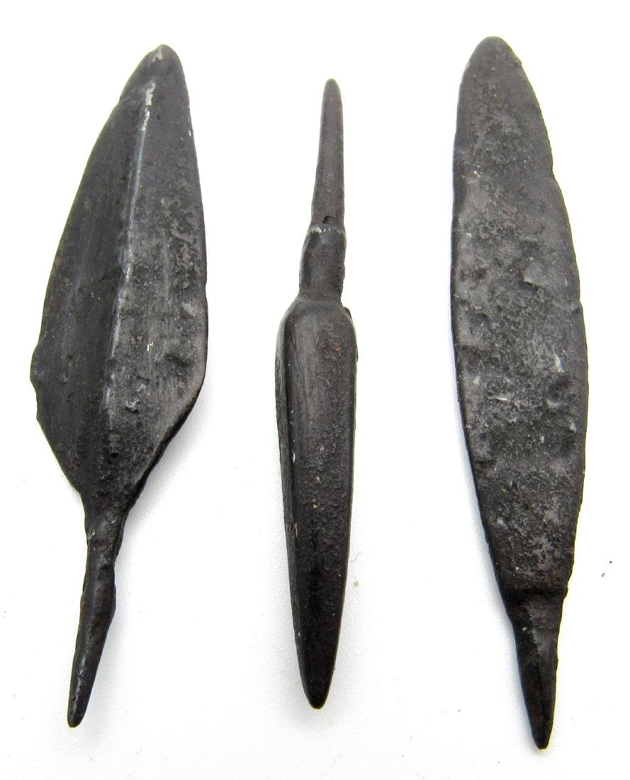 Lot of 3 Ancient Roman Iron Arrows - 2