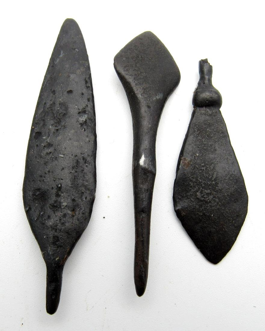 Lot of 3 Ancient Roman Iron Arrows - 2