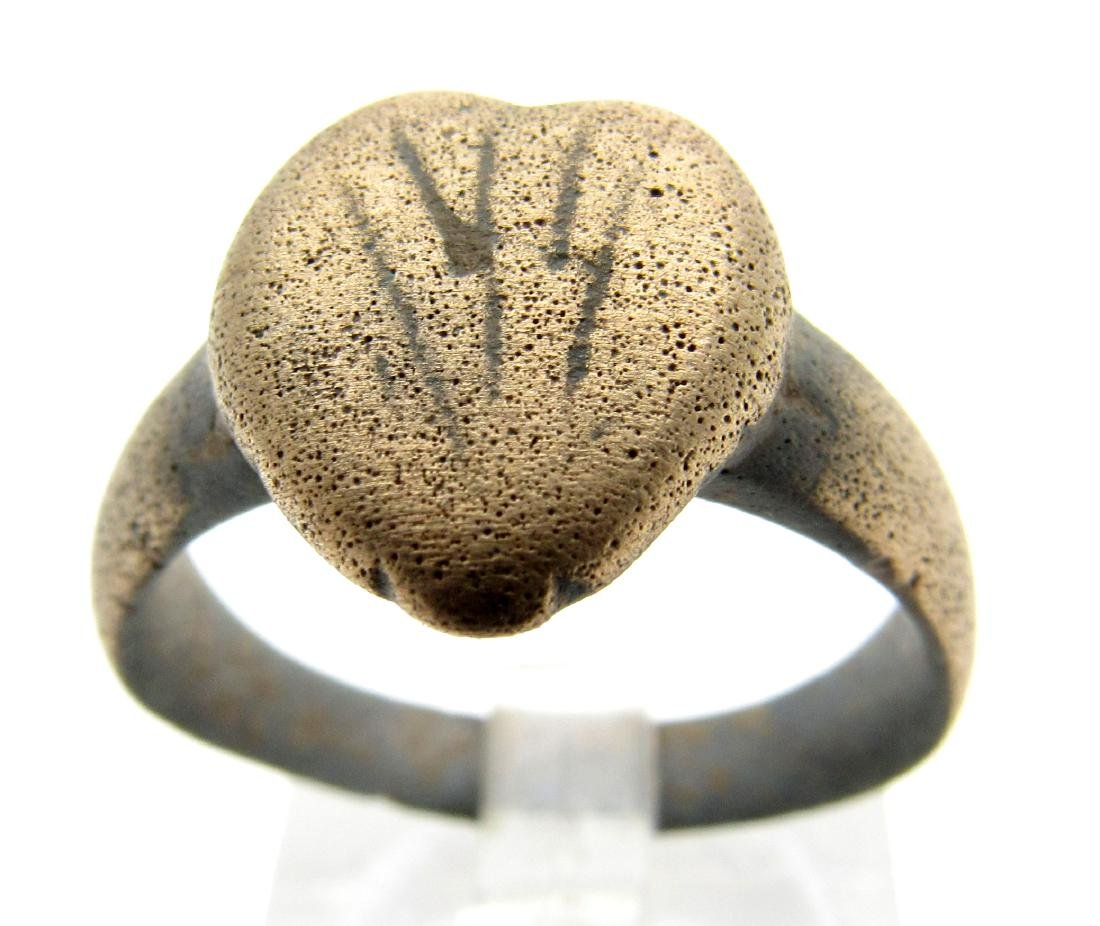 Medieval Viking Bravery Ring with Heart Shaped Bezel