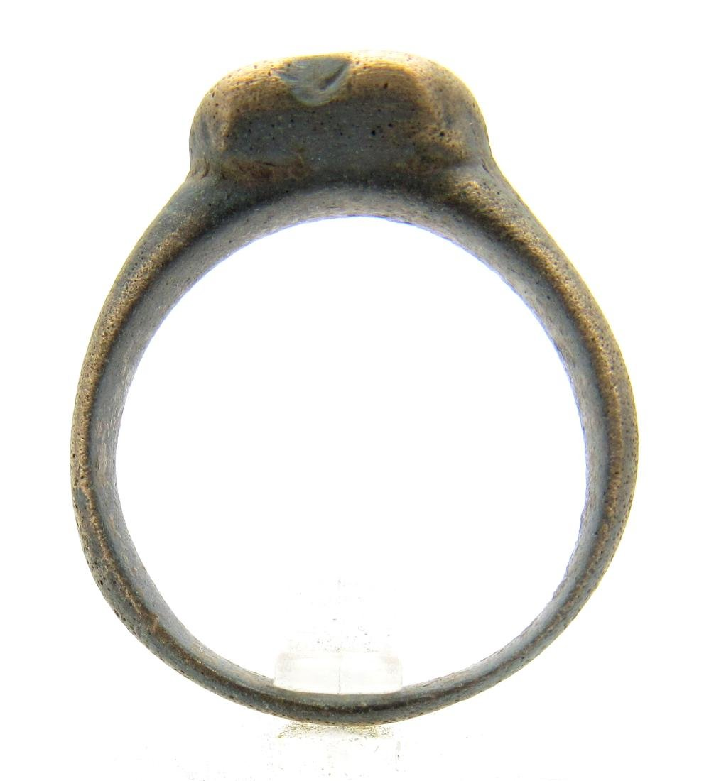 Medieval Viking Bravery Ring with Heart Shaped Bezel - 3