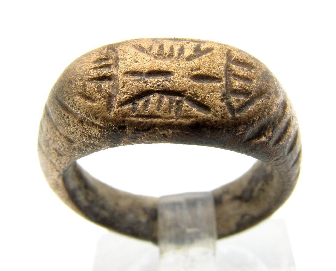 Medieval Viking Ring With Symbol