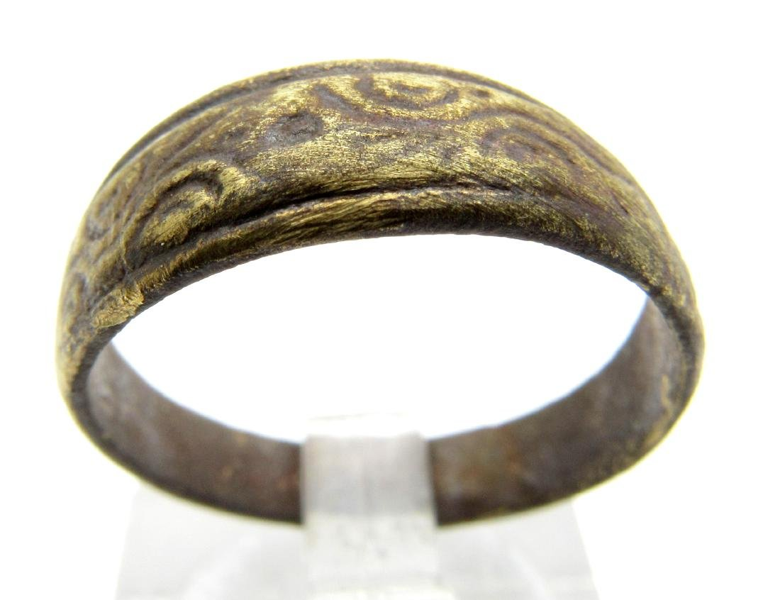 Medieval Viking Wedding Ring With Decoration