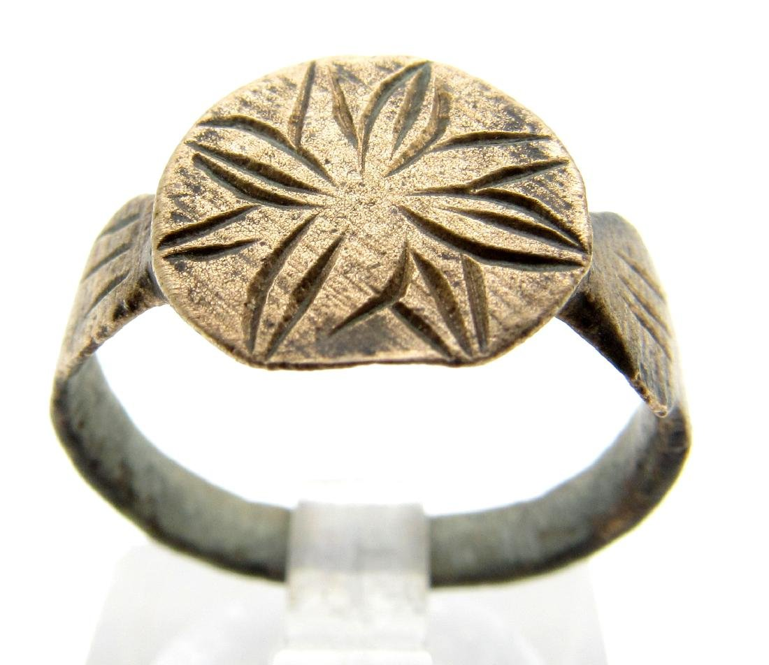 Medieval Crusaders Ring With Cross on Bezel
