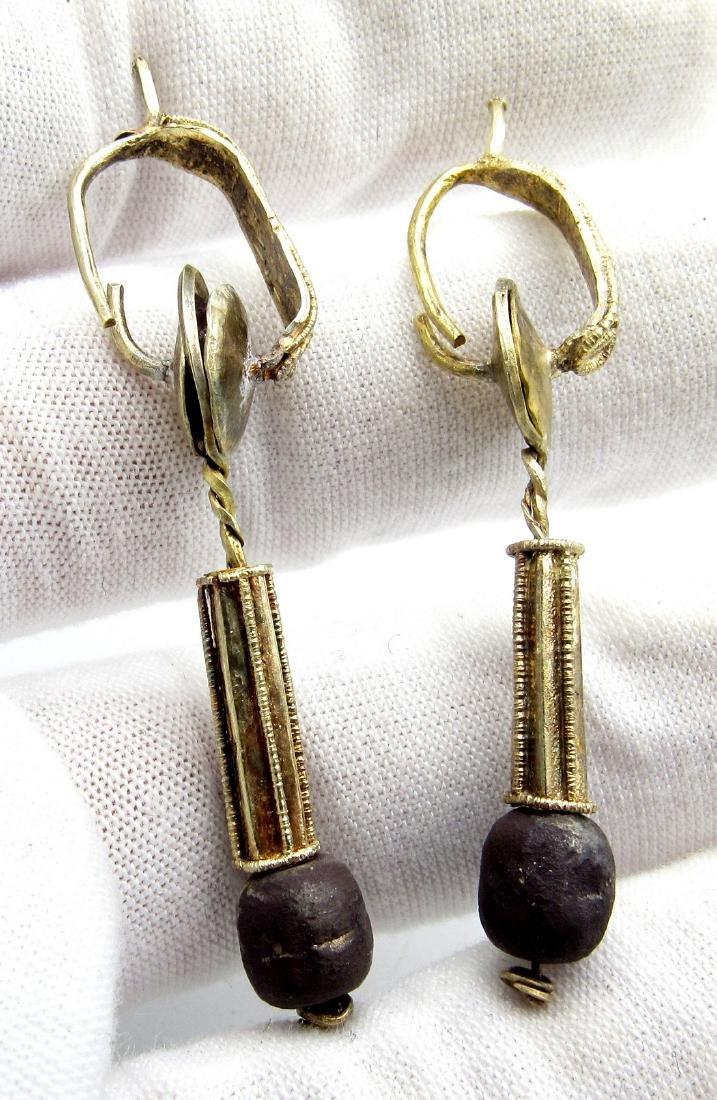 Pair of Medieval Viking Gold Earrings