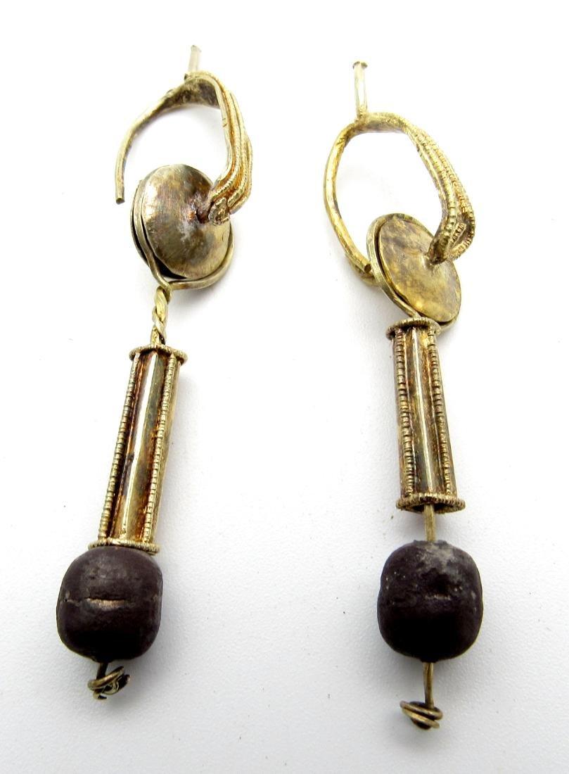 Pair of Medieval Viking Gold Earrings - 2