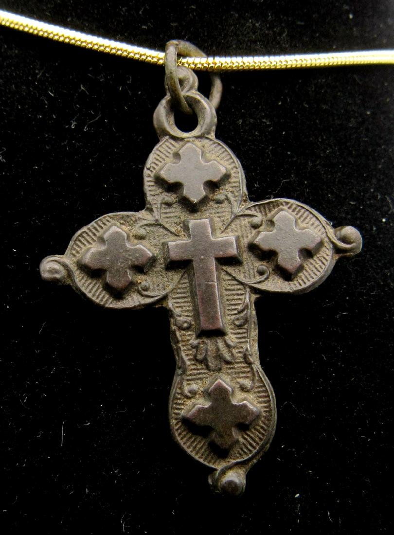 Medieval Knights Templar Holy Land Cross Pendant - 2