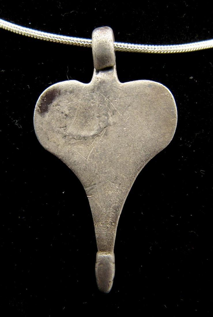 Medieval Viking Silver Heart Pendant - Bravery