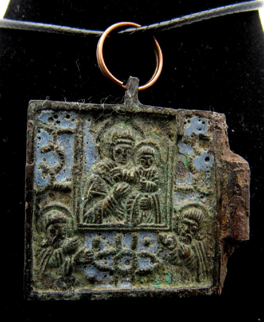Medieval Enameled Icon Pendant with Mary & Jesus