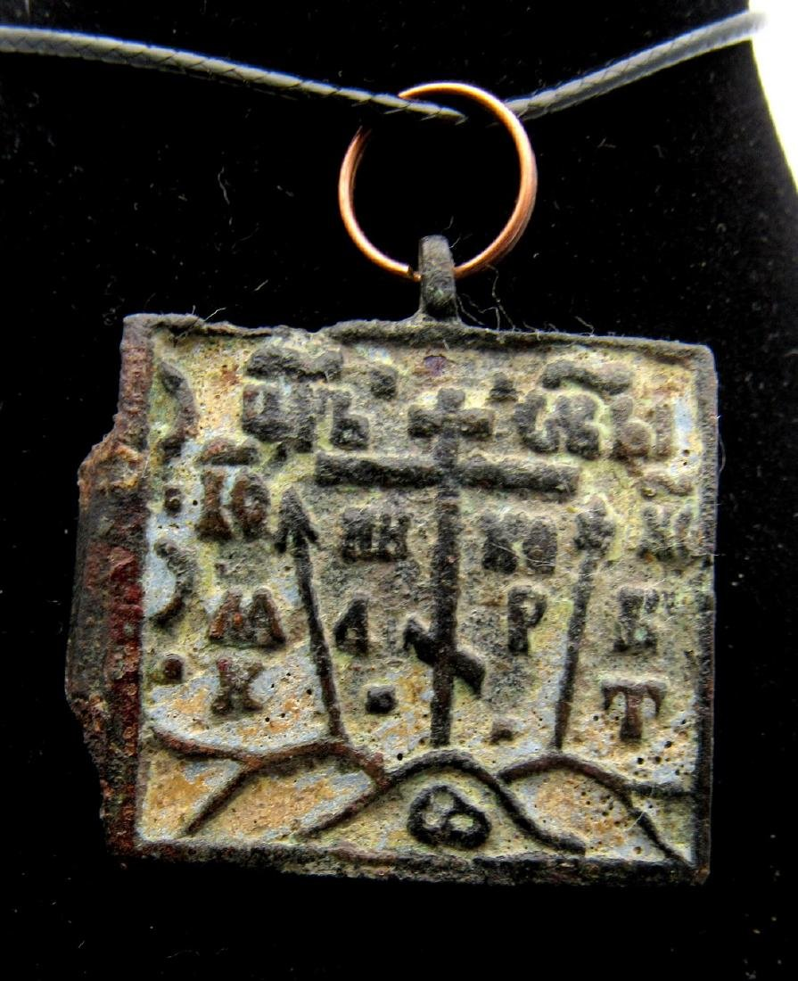 Medieval Enameled Icon Pendant with Mary & Jesus - 2