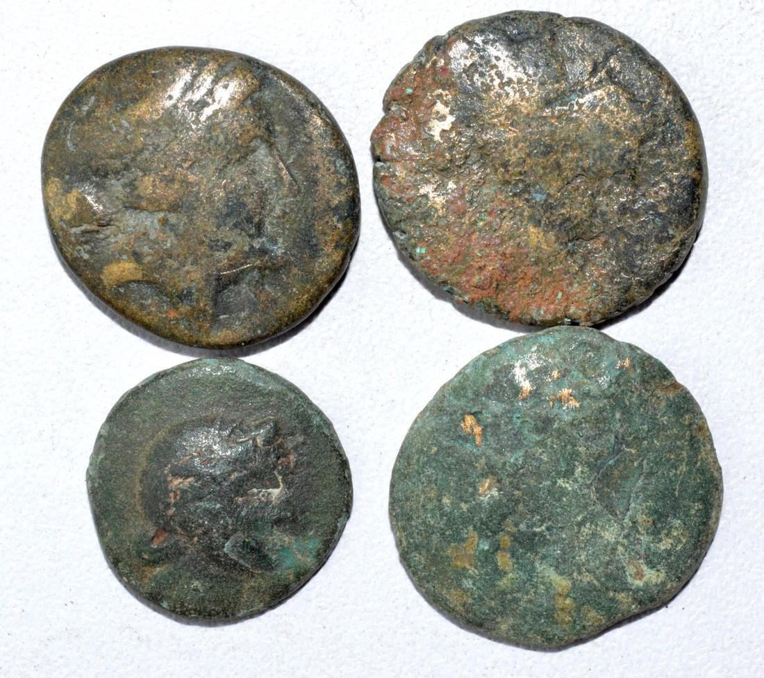 Lot of 4 Ancient Greek Coins for Cleaning - 2