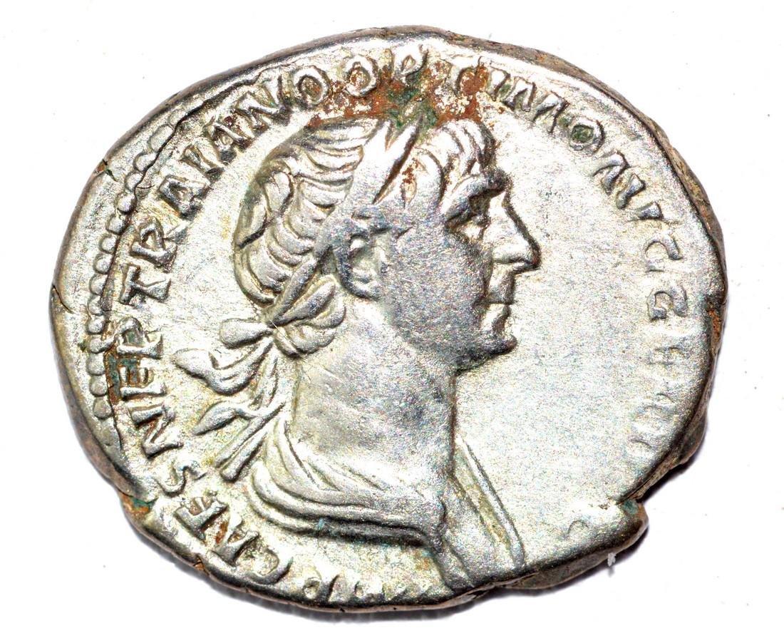 Trajan AR Denarius, rv. Genius