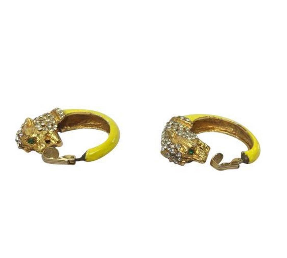 Vintage Enamel Cubic Zirconia Figural Tiger Earrings
