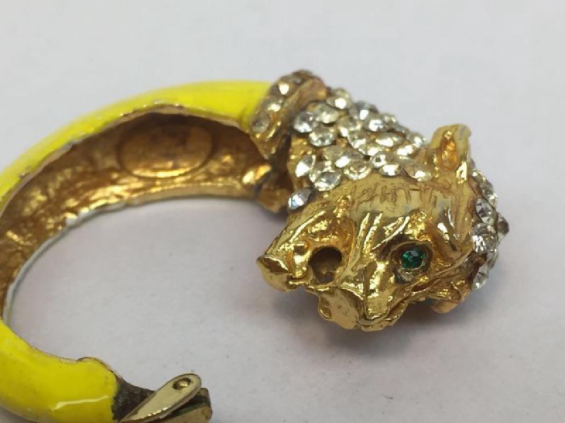 Vintage Enamel Cubic Zirconia Figural Tiger Earrings - 2