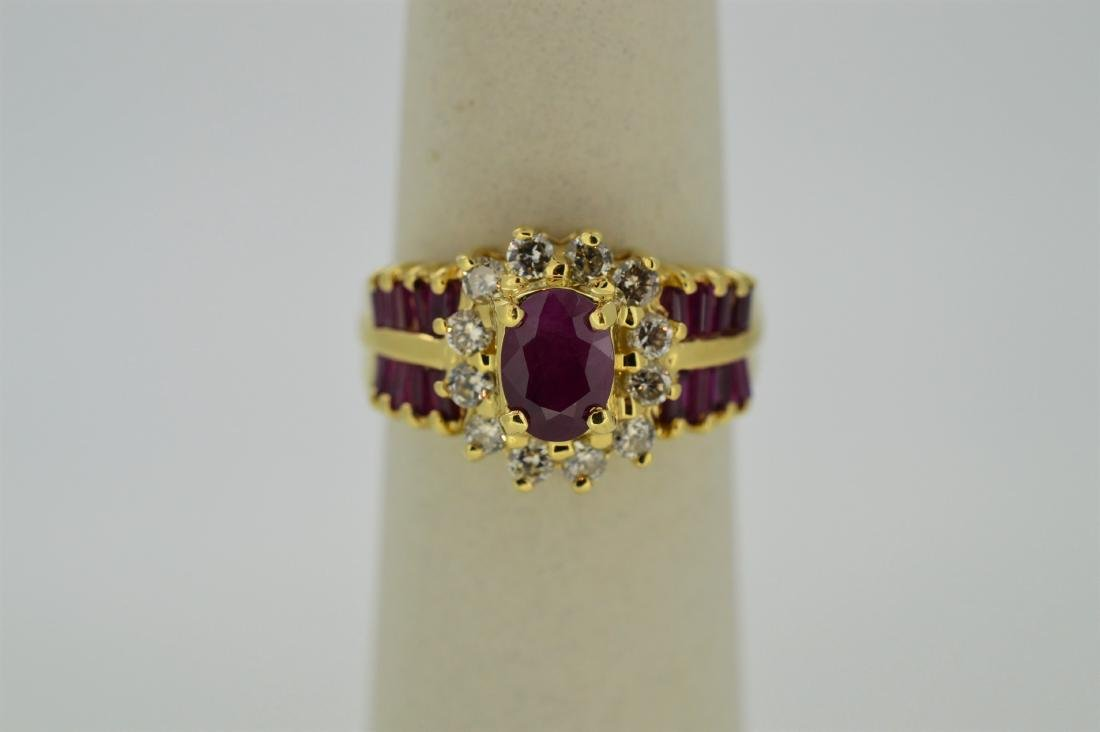 Ladies 14k Yellow Gold Diamond Ruby Ring, 1.32ctw