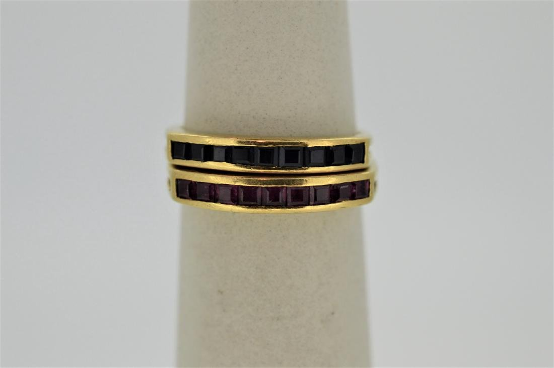 Pair of 14K Yellow Gold Ruby Sapphire Rings