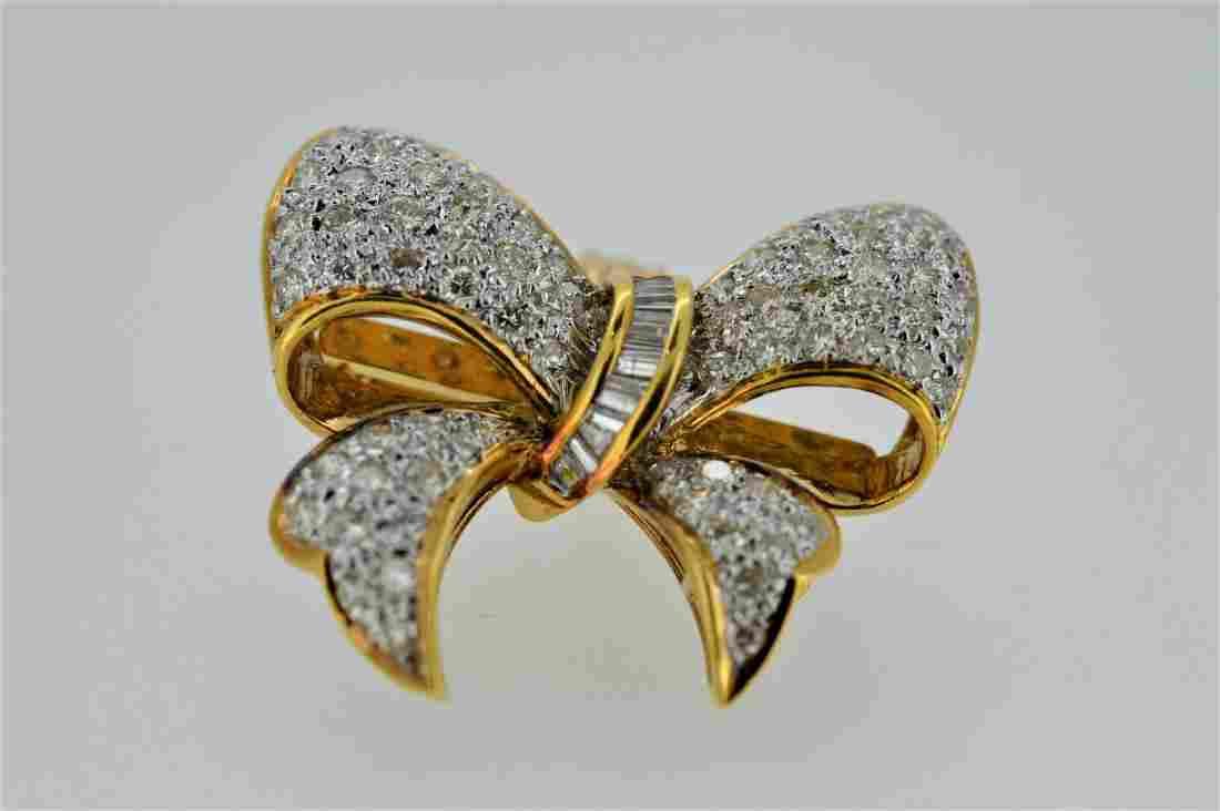 Vintage 14K Yellow Gold Diamond Pin Pendant, 2.07ctw
