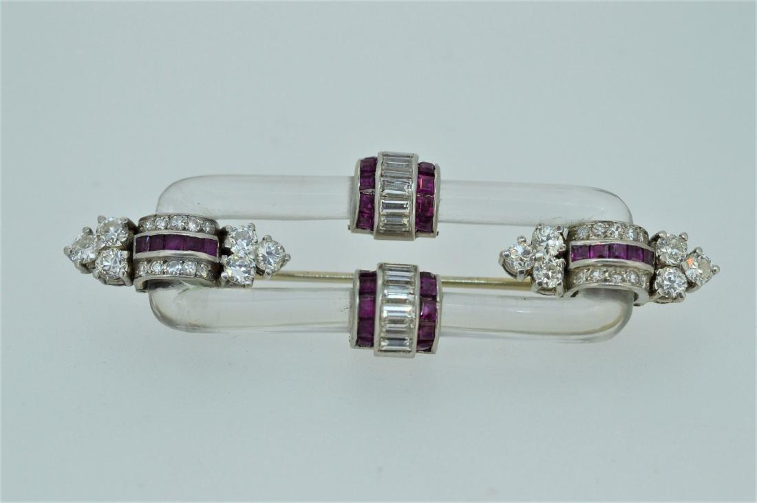 Ladies 1940's Platinum Diamond Ruby Pin, 1.84ctw