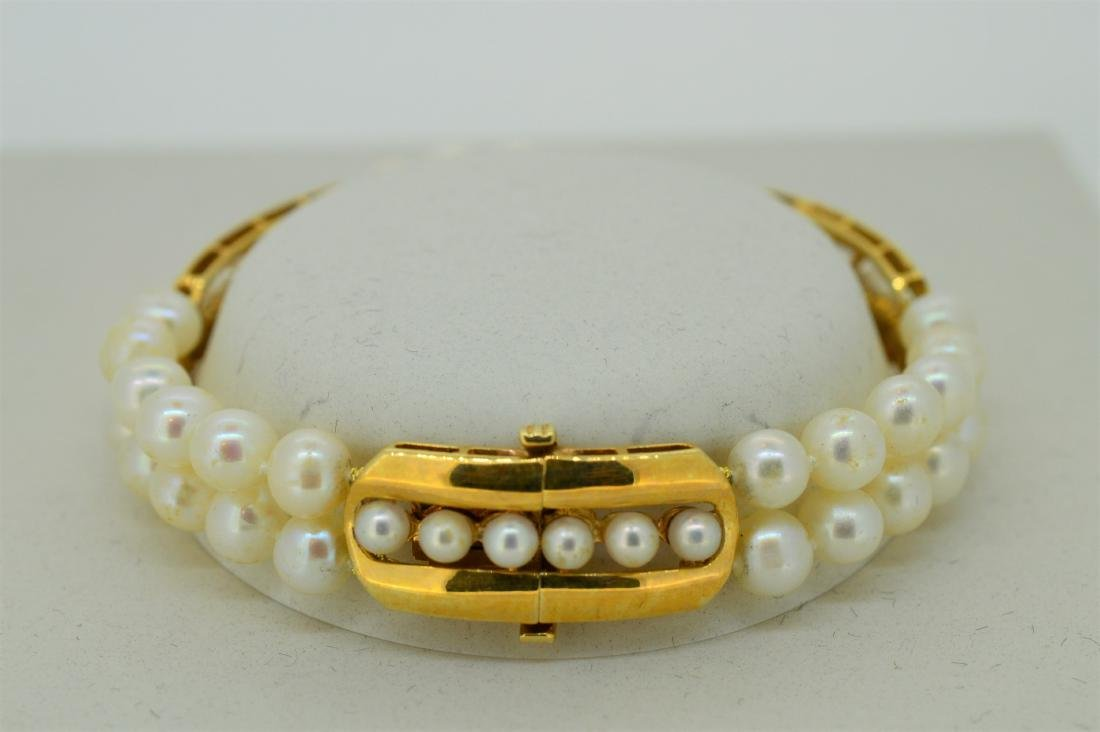 Ladies 14k Yellow Gold & Pearl Bracelet