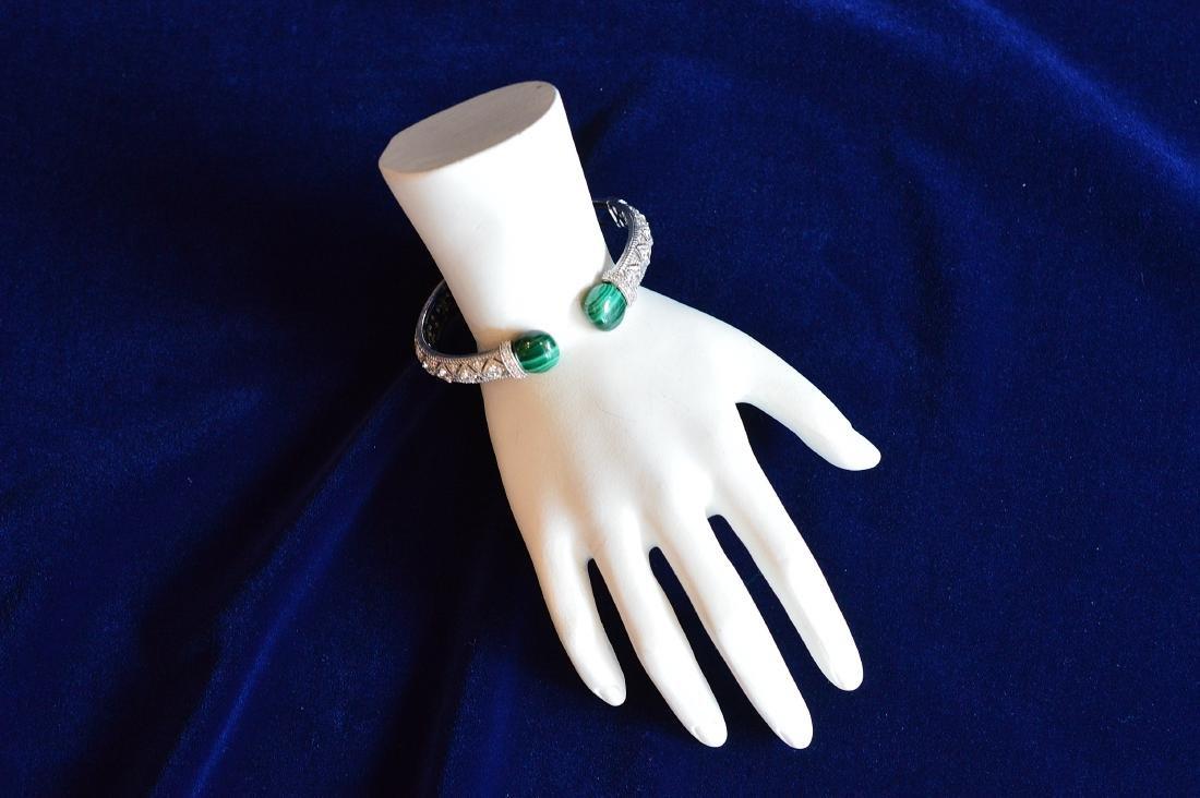 Judith Ripka Sterling Silver Malachite Cuff Bracelet