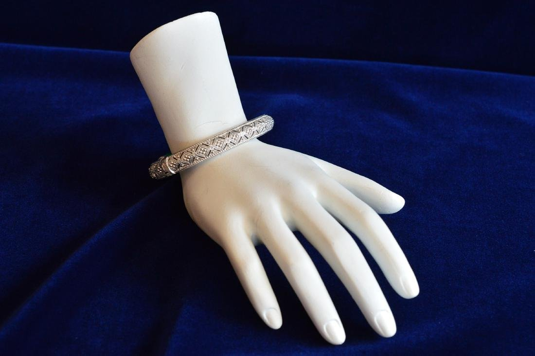 Judith Ripka Sterling Silver Malachite Cuff Bracelet - 2