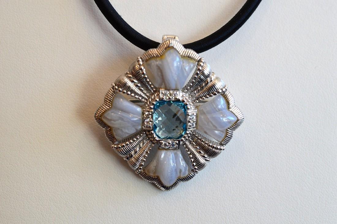 Judith Ripka Sterling Silver Blue Topaz Pendant / Pin