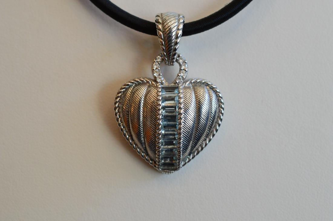 Judith Ripka Sterling Silver Aquamarine Heart Pendant