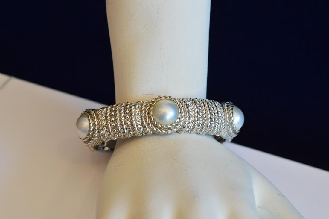 Judith Ripka Sterling Silver Pearl Hinged Cuff Bracelet