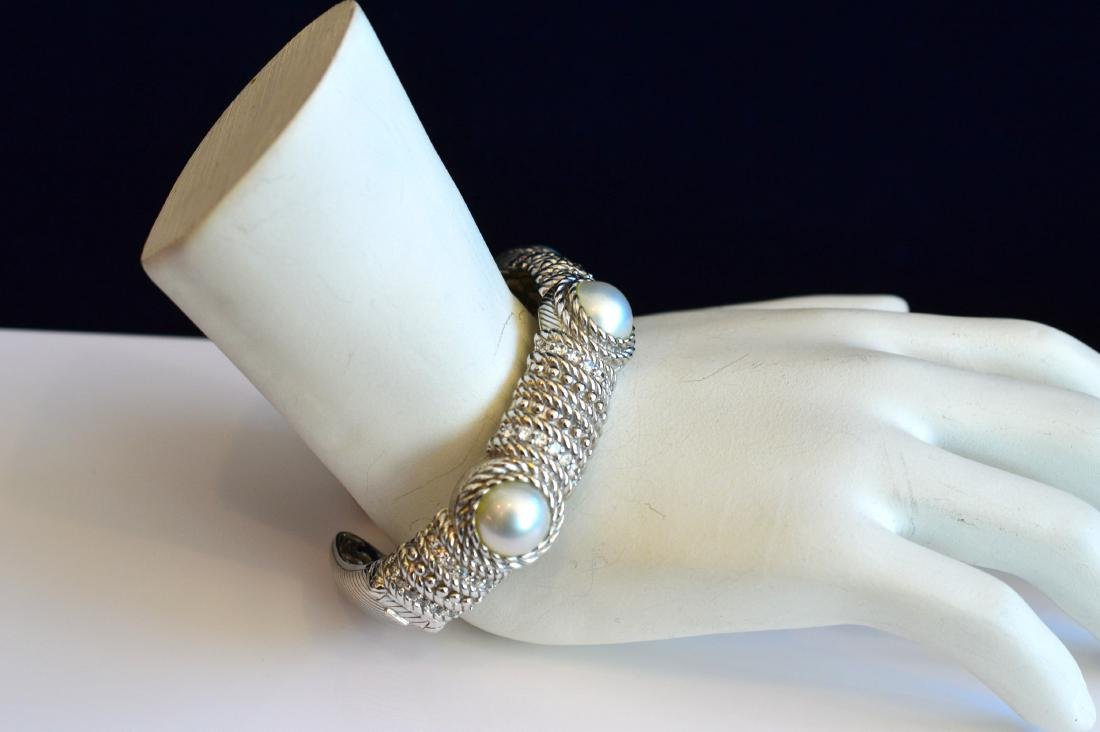 Judith Ripka Sterling Silver Pearl Hinged Cuff Bracelet - 2