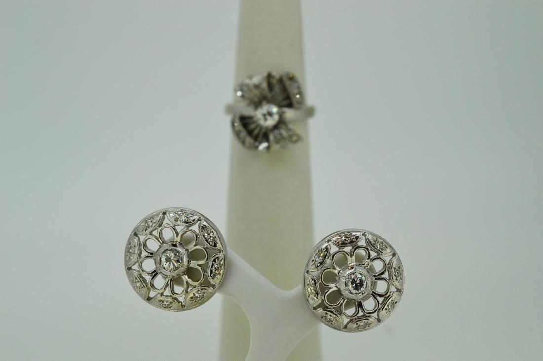 Platinum Diamond Cocktail Ring Earrings Set, 1.77ctw