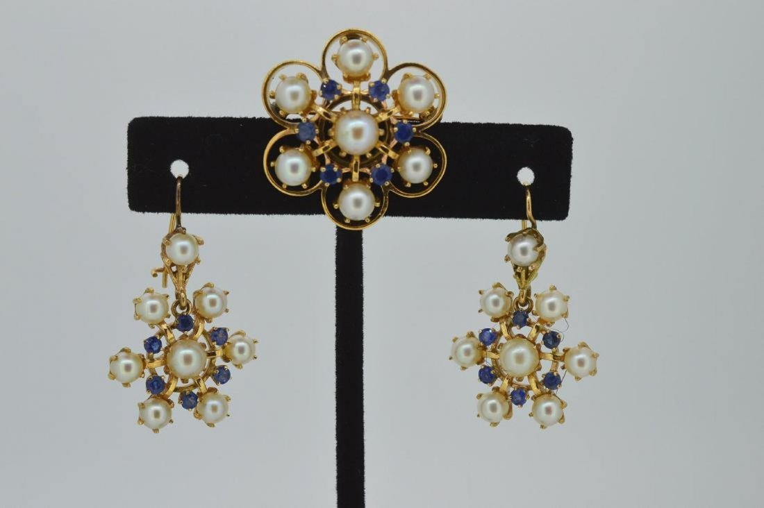 14k Yellow Gold Pearl Sapphire Earrings Brooch Set