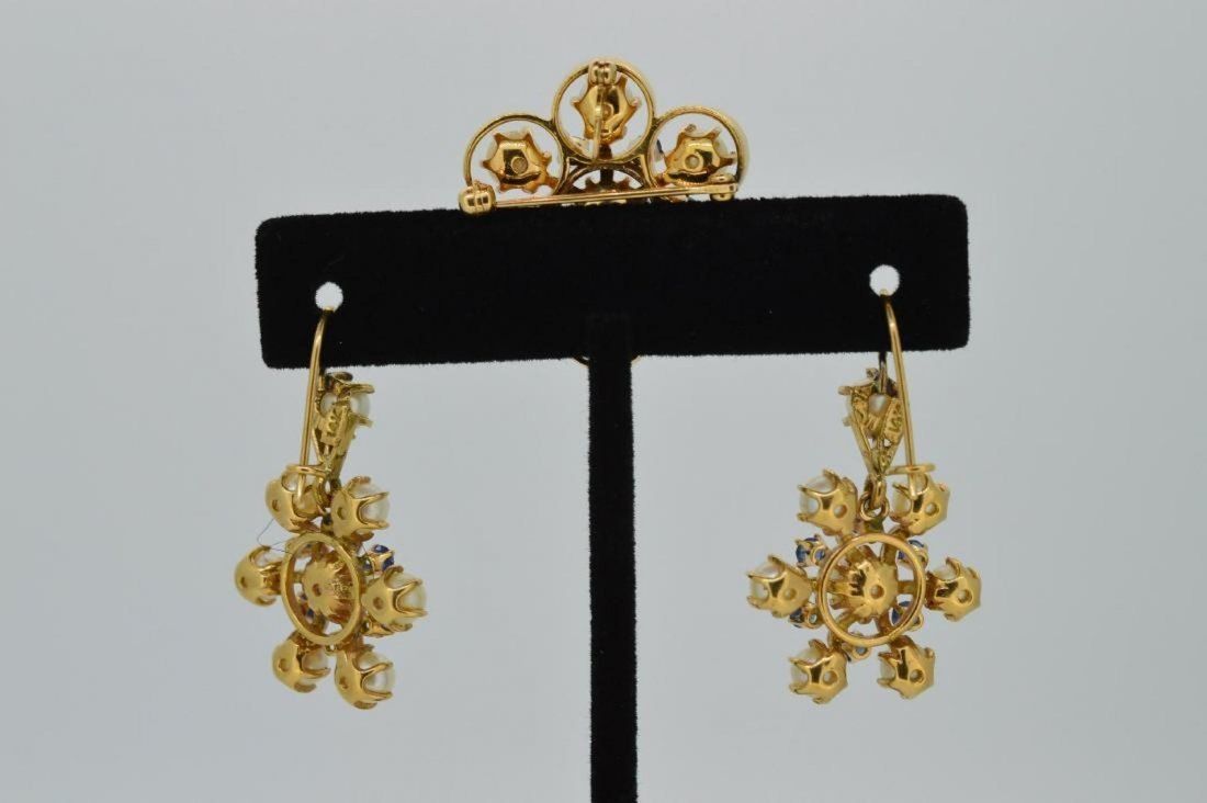 14k Yellow Gold Pearl Sapphire Earrings Brooch Set - 3