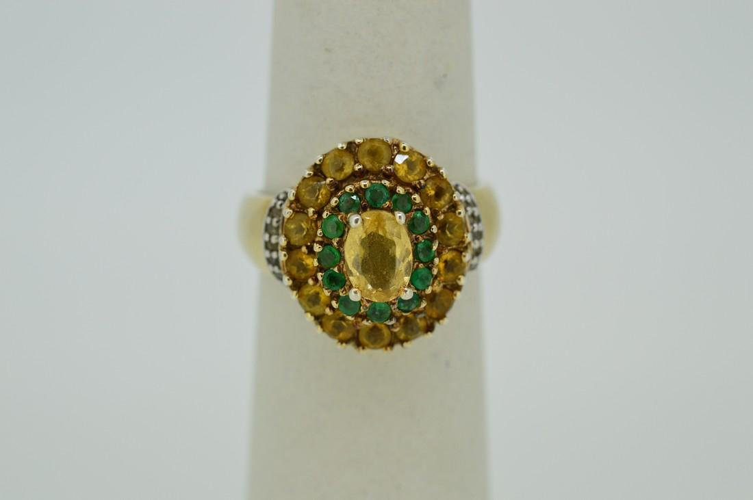 Ladies Gold Plated Sterling Silver Citrine Ring