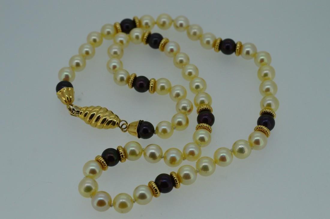 Ladies 14k Yellow Gold Akoya Pearl Necklace