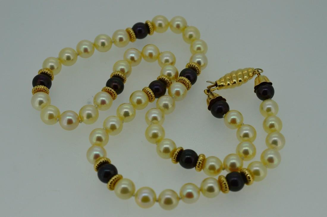 Ladies 14k Yellow Gold Akoya Pearl Necklace - 3