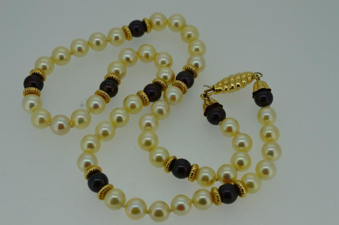 Ladies 14k Yellow Gold Akoya Pearl Necklace - 4