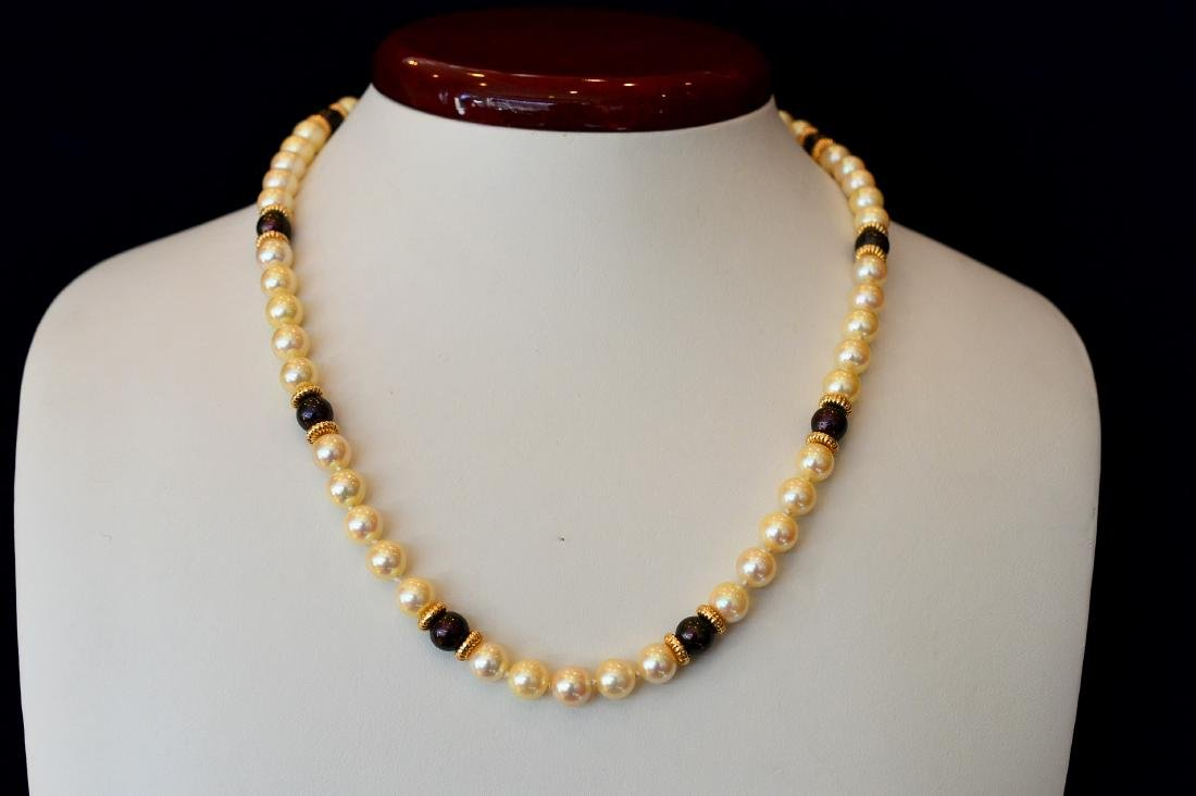 Ladies 14k Yellow Gold Akoya Pearl Necklace - 5