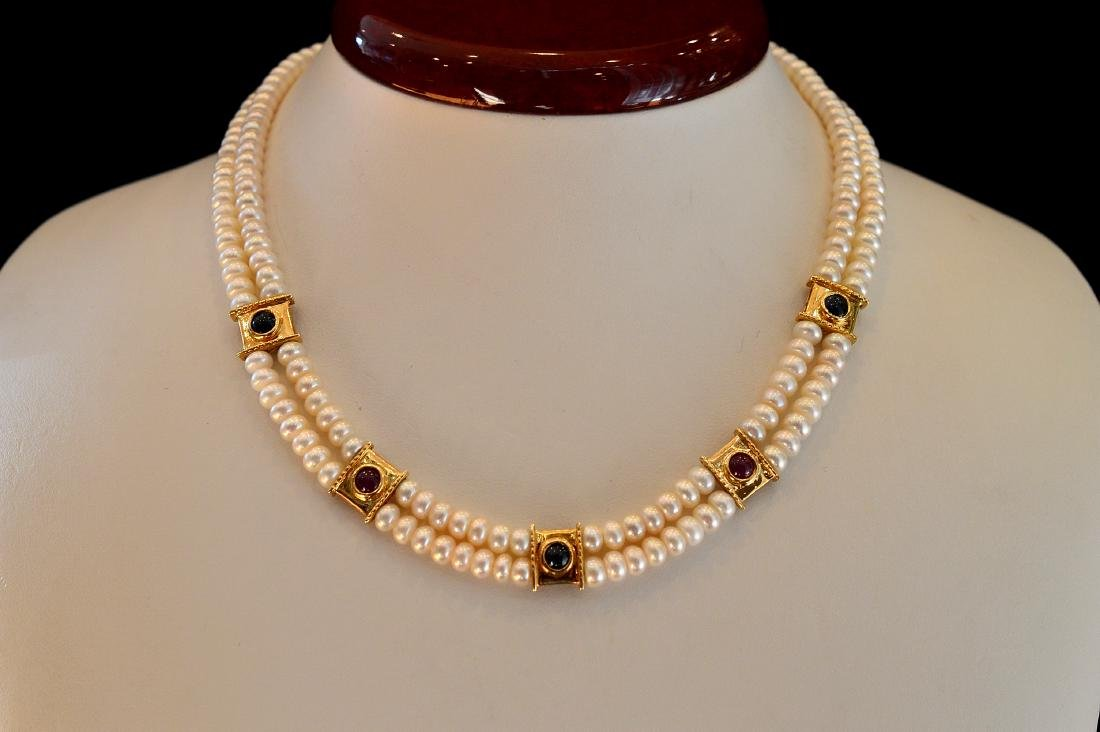 Ladies 14K Yellow Gold Pearl Ruby Emerald Necklace - 2