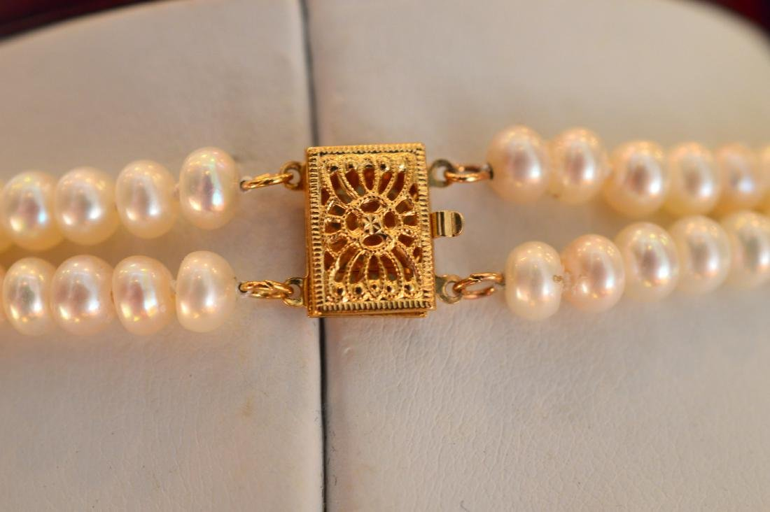 Ladies 14K Yellow Gold Pearl Ruby Emerald Necklace - 3
