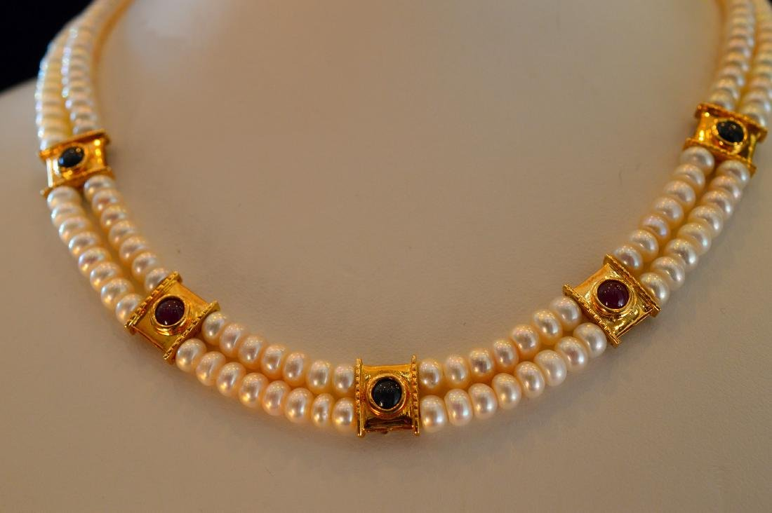 Ladies 14K Yellow Gold Pearl Ruby Emerald Necklace - 4