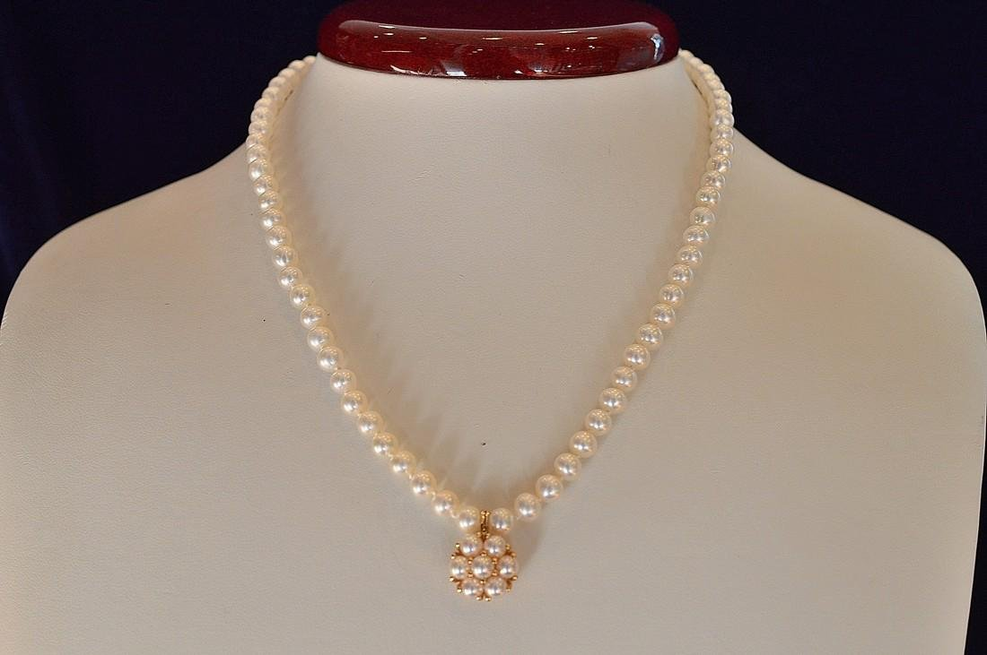 Ladies 14K Gold Freshwater Pearl Necklace - 3