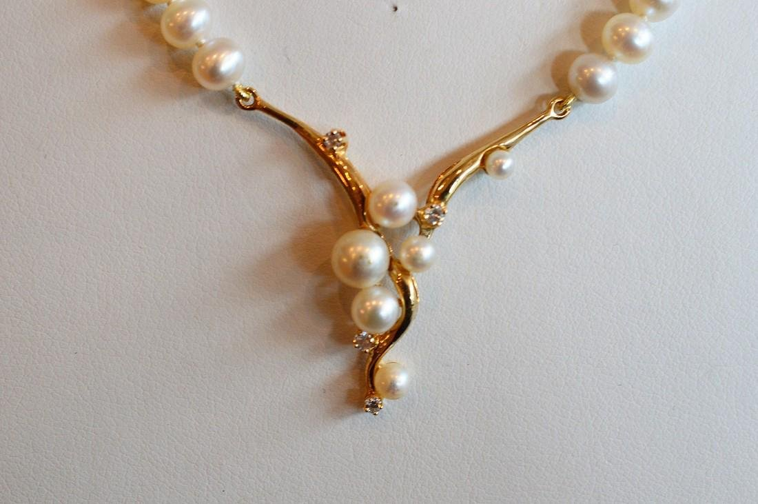 Ladies 14K Gold Pearl Diamond Necklace - 2