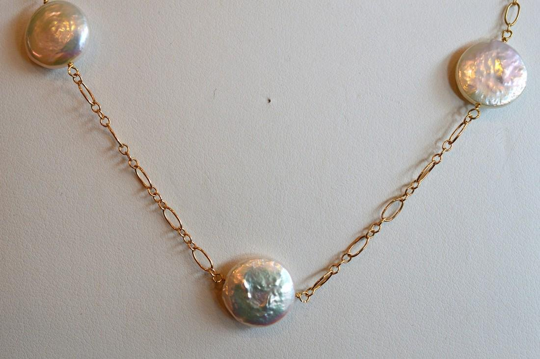 Ladies 14K Yellow Gold Disc Pearls Necklace - 2