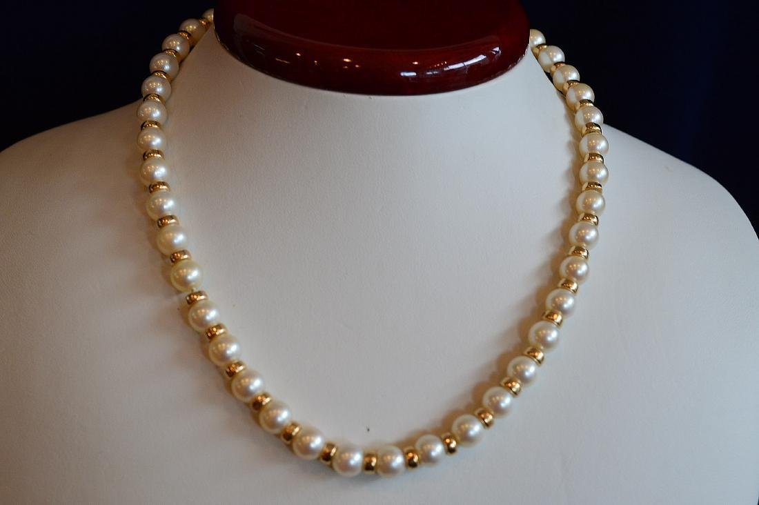 Ladies 14K Yellow Gold Pearl Necklace Bracelet Set - 2
