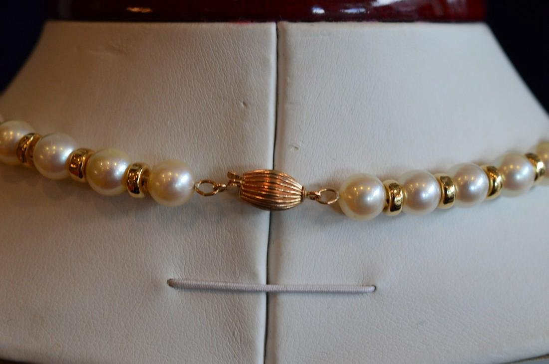 Ladies 14K Yellow Gold Pearl Necklace Bracelet Set - 4