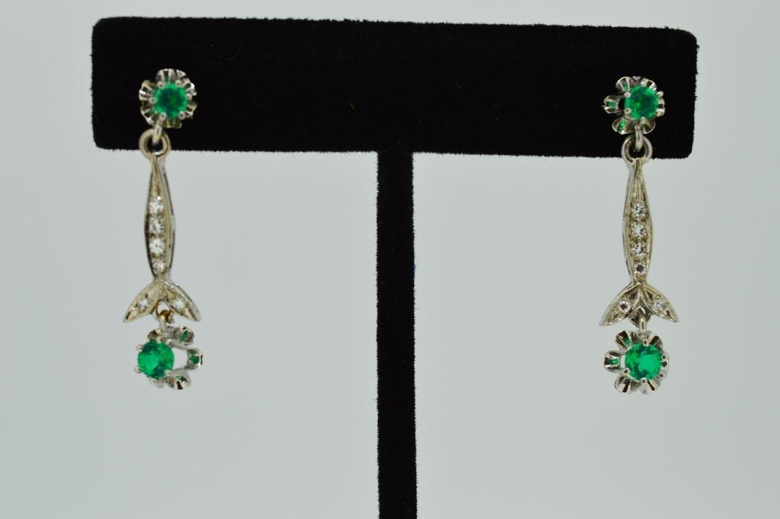Ladies 14k White Gold & Beryl Diamond Drop Earrings
