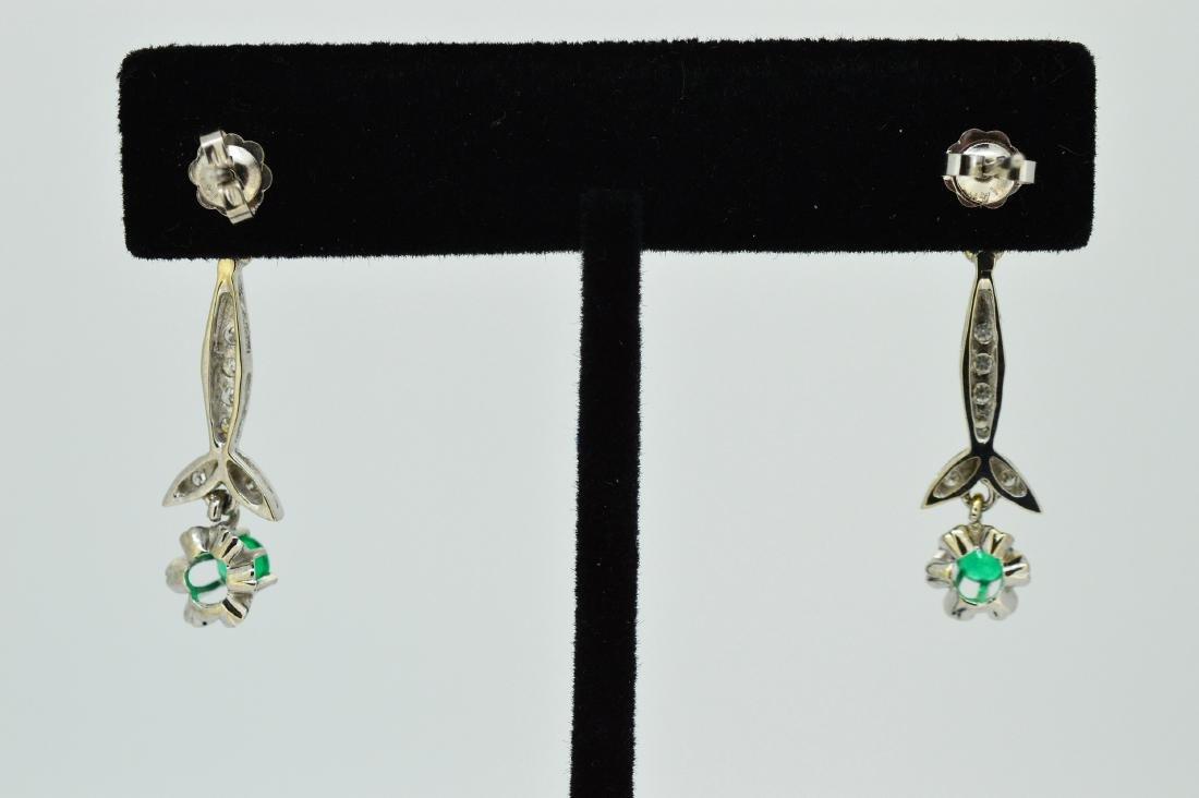 Ladies 14k White Gold & Beryl Diamond Drop Earrings - 2