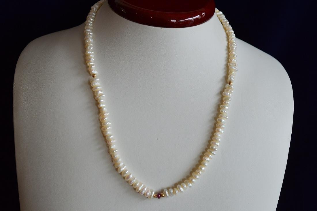 Ladies 14K Gold Blister Pearl Necklace Bracelet Set - 2